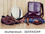 clothing for men on the wooden... | Shutterstock . vector #365543249