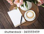 notebook with a pen on the... | Shutterstock . vector #365555459