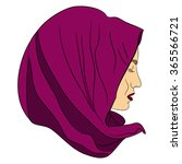 muslim girl dressed in colored... | Shutterstock .eps vector #365566721