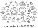 winter clothes set for a boy... | Shutterstock .eps vector #365572505