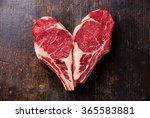 heart shape raw meat ribeye... | Shutterstock . vector #365583881