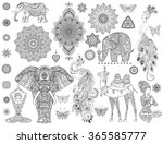 ornamental set with animal ... | Shutterstock .eps vector #365585777