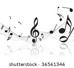 musical notes staff background. ... | Shutterstock . vector #36561346