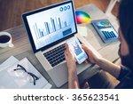 blue data against high angle... | Shutterstock . vector #365623541