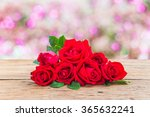 red roses on blurred pink... | Shutterstock . vector #365632241
