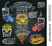 fastfood menu and speech bubble ... | Shutterstock .eps vector #365632421