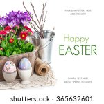 easter eggs with spring flowers ...   Shutterstock . vector #365632601