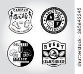 90 set of badge rugby. handmade ... | Shutterstock .eps vector #365643245