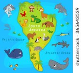 map of the south america with... | Shutterstock .eps vector #365643539