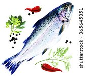 rainbow trout with spices on... | Shutterstock . vector #365645351