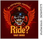 crazy driver   skull and taxi... | Shutterstock .eps vector #365645375