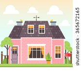 illustration of cute pink house ... | Shutterstock .eps vector #365672165