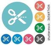 flat cut out icon set on round...