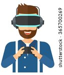 man wearing virtual reality... | Shutterstock .eps vector #365700269