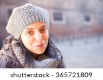 Girl With Wool Hat In Winter.