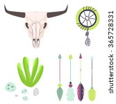 Longhorn Cow Skull Head Vector...