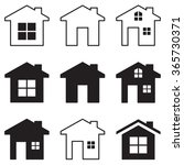 house icon set black on white | Shutterstock .eps vector #365730371