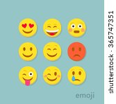 set of flat emoticons on... | Shutterstock .eps vector #365747351