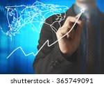 businessman drawing graphics a... | Shutterstock . vector #365749091