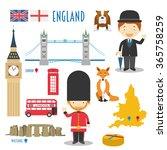 england flat icon set travel... | Shutterstock .eps vector #365758259