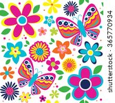 spring pattern with cute... | Shutterstock .eps vector #365770934