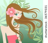 pretty girl character | Shutterstock .eps vector #36579331