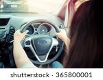 woman driving car with vintage... | Shutterstock . vector #365800001