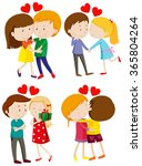 love couple hugging and kissing ... | Shutterstock .eps vector #365804264