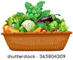basket full of fresh vegetables ... | Shutterstock .eps vector #365804309
