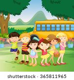 children standing by the... | Shutterstock .eps vector #365811965