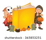 kids in halloween costume and a ... | Shutterstock .eps vector #365853251