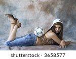 pretty girl with soccer ball | Shutterstock . vector #3658577