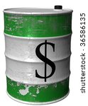 a steel barrel with a symbol of ... | Shutterstock . vector #36586135