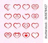 heart illustrations set  | Shutterstock .eps vector #365878427