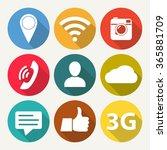 social network icon set. media... | Shutterstock . vector #365881709