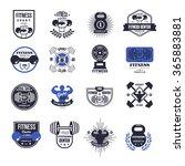 fitness emblems vector set | Shutterstock .eps vector #365883881