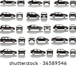 Stock vector set icons black silhouettes of cars vector shapes design 36589546