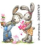 Watercolor Cute Bunny Rabbit...