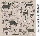 rock paintings. cave drawings... | Shutterstock .eps vector #365901461