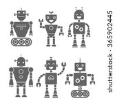set icon retro robots | Shutterstock .eps vector #365902445