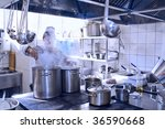 chef cooking at commercial... | Shutterstock . vector #36590668