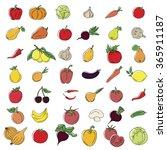 set of various doodles  hand... | Shutterstock .eps vector #365911187
