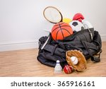 sports equipment in a holdall... | Shutterstock . vector #365916161