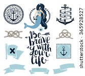 set of cute nautical badges and ... | Shutterstock .eps vector #365928527
