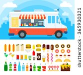 food truck vector flat... | Shutterstock .eps vector #365930321