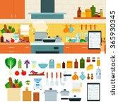 recipes app vector flat... | Shutterstock .eps vector #365930345