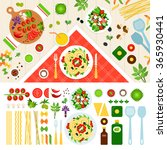 pasta vector flat illustrations.... | Shutterstock .eps vector #365930441