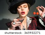 vintage woman drinking a... | Shutterstock . vector #365932271