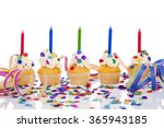 birthday cupcakes in a row with ... | Shutterstock . vector #365943185