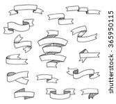 hand drawn ribbons set. vector... | Shutterstock .eps vector #365950115